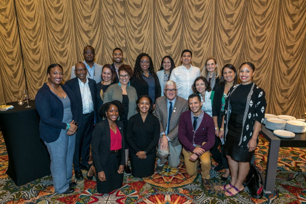 Human Genetics Scholars with ASHG Board and HGSI Advisory Group Members along with representatives of HGSI funding partners, NHGRI and Biogen, during the ASHG 2019 Diversity Reception.