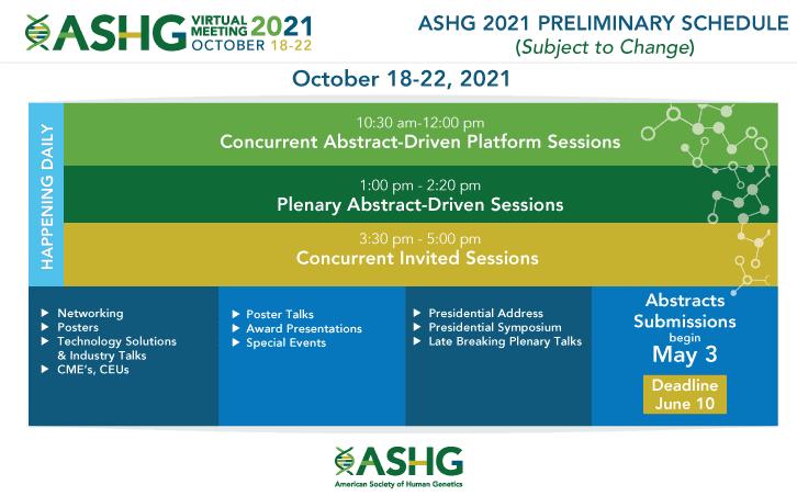 ASHG2021 Preliminary Schedule